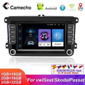 Camecho 2Din Android 8.1Car Radio For VW/Volkswagen/Golf/Polo/Tiguan/Passat/b7/b6/leon/Skoda/Seat/Octavia GPS Multimedia Player image