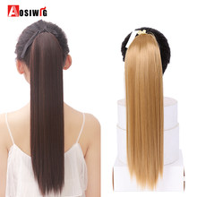 "AOSIWIG 22"" Long Straight Ponytails Heat Resistant Synthetic Hair Pieces Drawstring Wrap Hair Tail Extentions Ponytail for Women(China)"