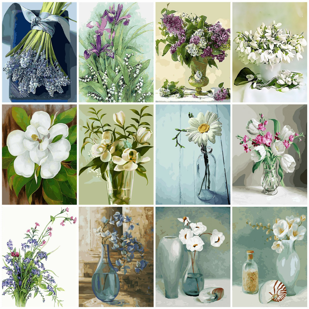 HUACAN Pictures By Numbers Flowers HandPainted Drawing Canvas Coloring Kits DIY Home Decoration Oil Painting Gift Pictures