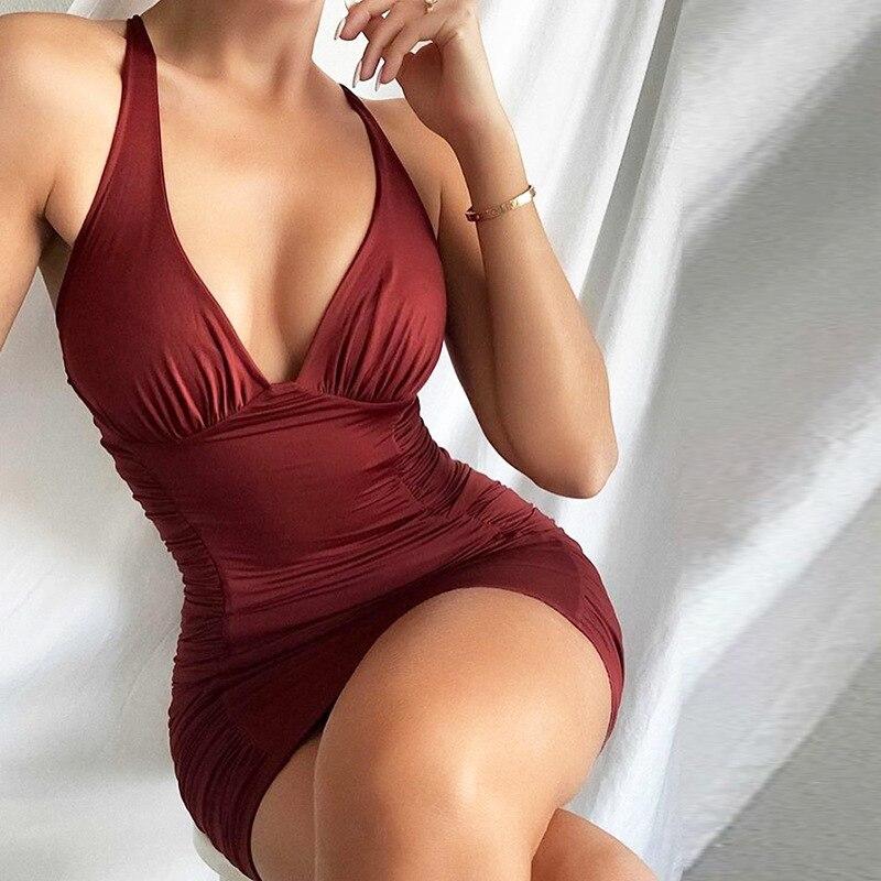 SRUBY Party Kleid Geraffte 2 Schichten Elastische Backless Slim Fit Kurze Kleider für Frauen Spaghetti Strap Vestidos Sexy Herbst Kleidung