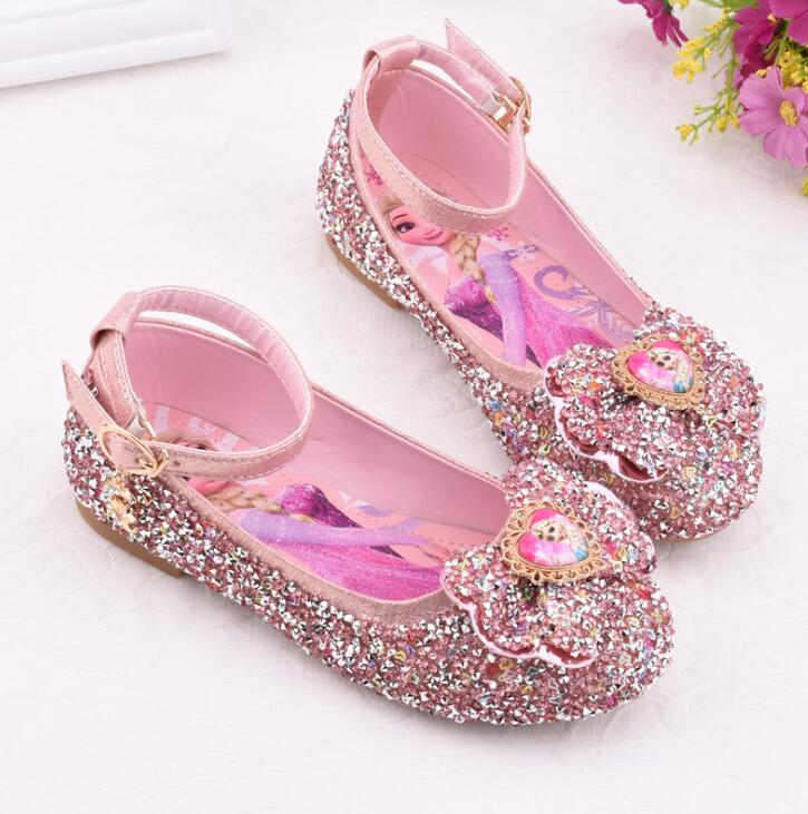 Kids Princess Elsa Shoes Girls Glitter Leather Shoes Fashion Bow Party Wedding Dress Flat Shoes Children Banquet Sneakers