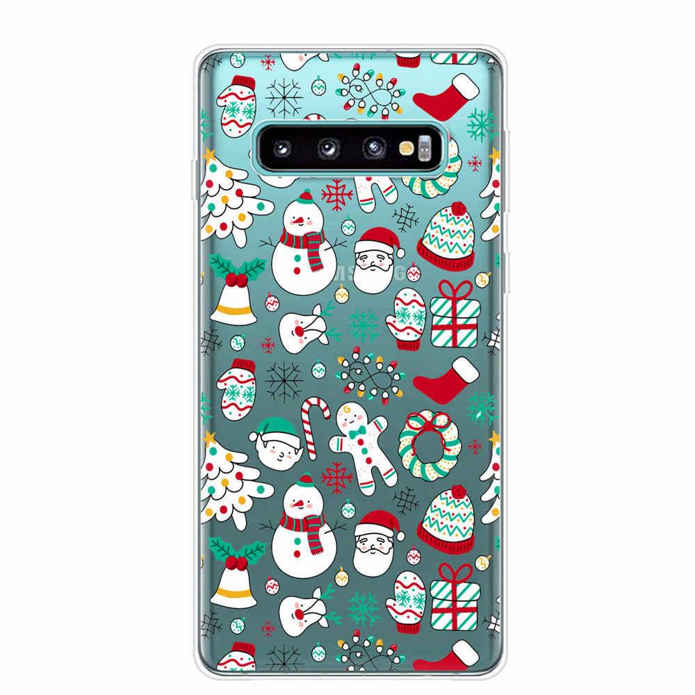 Nowy rok prezenty świąteczne ełk śnieg etui na telefony do Samsung note 10 S10 E lite S9 S8 S10 Plus A30 A50 A70 S7 krawędzi etui z miękkiego tpu