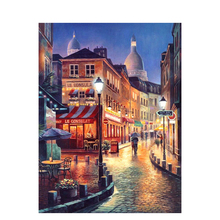 SELILALI DIY Painting By Numbers Landscape Oil Painting Home Handpainted Street Lights At Night Wall Art Canvas Painting Art