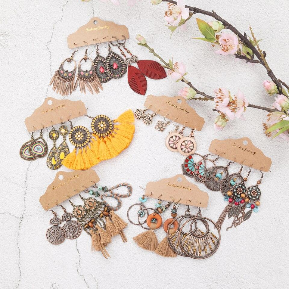 Trend 2020 Vintage Dangle Drop Earrings Bundles for Women Sundry Ethnic Boho Tassel Crystal Earrings Sets Jewelry Accessories