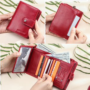 Image 5 - Contacts Small wallet Women Genuine Leather Female hasp short Coin Purses Rfid Card Holder wallets for women carteira masculina