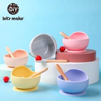 Letmake s fazer 1 conjunto de alimentação do bebê de silicone conjunto de colher à prova dwaterproof água antiderrapante alimentação tigela de silicone utensílios de mesa produtos para bebê placa de bebê