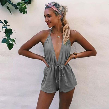 ZOGAA Brand Sexy V Neck Playsuits Shorts Summer Womens Sleeveless Casual Loose Rompers Female Spaghetti Strap Backless Jumpsuits black deep v neck sleeveless backless zip design playsuits