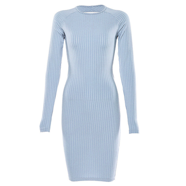 ZHYMIHRET 2019 Autumn Hollow Out Holder Dress Long Sleeve Sexy Backless Bodycon Party Dress Twist Knee Length Vestidos 8