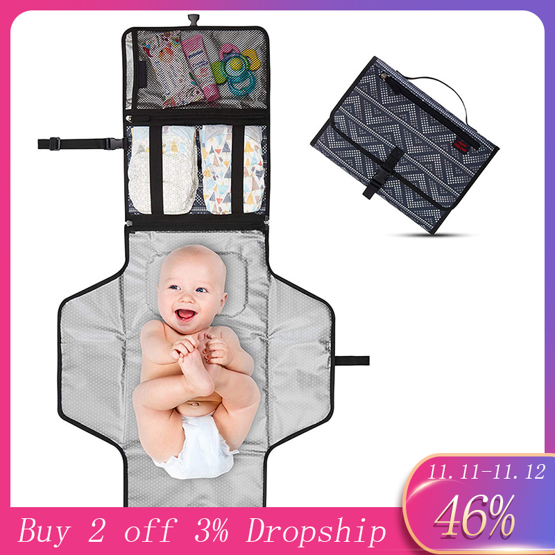 MUQGEW Foldable Newborn Diaper Changing Mat Waterproof Travel Multifunction Portable Baby Diape Mat WU8