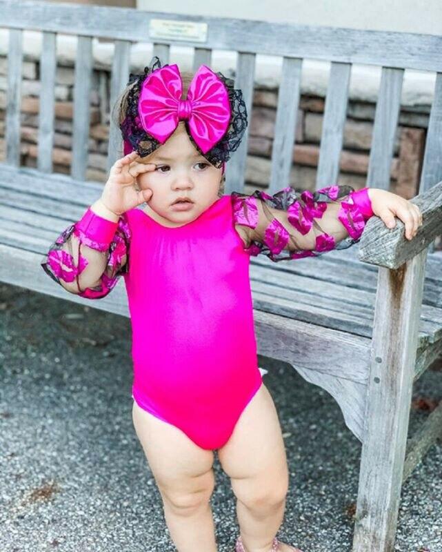 Newborn Baby Girl Sweet Short Sleeve Bodysuit Romper+Lips Tutu Leg Warmers+Bowknot Headband