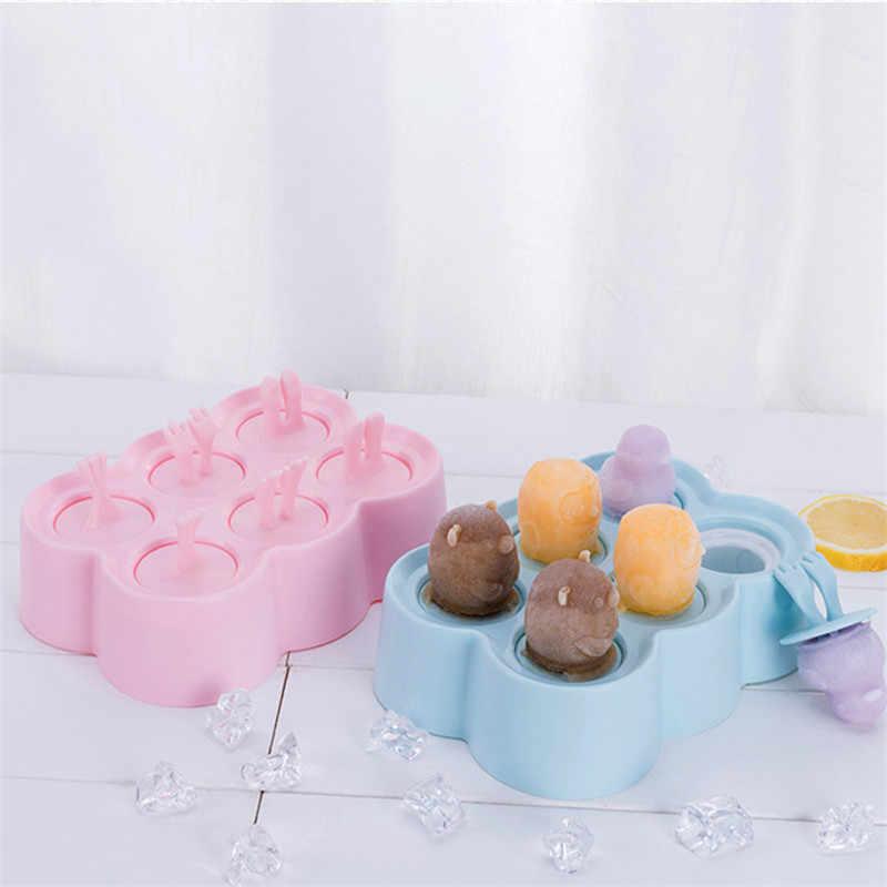 Molde de picolé de silicone criativo bonito dos desenhos animados forma animal gelo lolly moldes diy picolé moldes bpa livre ferramentas de sorvete