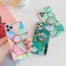 Geometric Marble Metalic Ring Holder Phone Case For