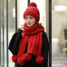 2018 Soft Pom Poms Winter Hats and Scarf For Women Kitted Beanies Set Thicken Solid Pink Girls