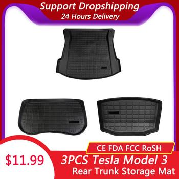 Waterproof Trunk Mats Customized Car Rear Trunk Storage Mat Cargo Tray Trunk Protective Pads Mat Compatible For Tesla Model 3 фото