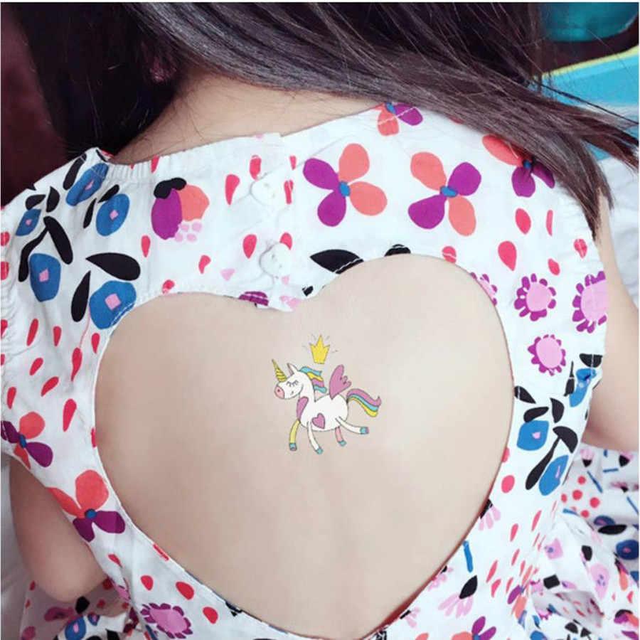1Pcs Colorful Nube Del Fumetto Unicorno Autoadesivo Del Tatuaggio Temporaneo Donne Minimalista Modello Body Art Design Impermeabile Tatuaggi Finti # L
