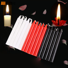 10 Pieces Black Candles Household Lighting Candles Daily Decorate Candle Smoke-free Romantic Wedding Long Pole Classic Candles
