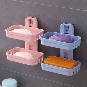 Sabun yemekleri kutusu duvar Zeep Houder duş sabun tepsisi tutucu banyo çift katmanlı depolama sepet sabun raf raf mutfak gereçleri
