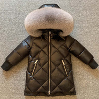 Children's long down jacket girl down thick coat natural fox fur collar big 2 12 years old