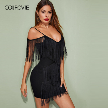 COLROVIE Black Plunging Neck Layered Fringe Cami Bodycon Dress Women Sleeveless Sexy Mini Dress 2020 Spring Slim Pencil Dresses 3