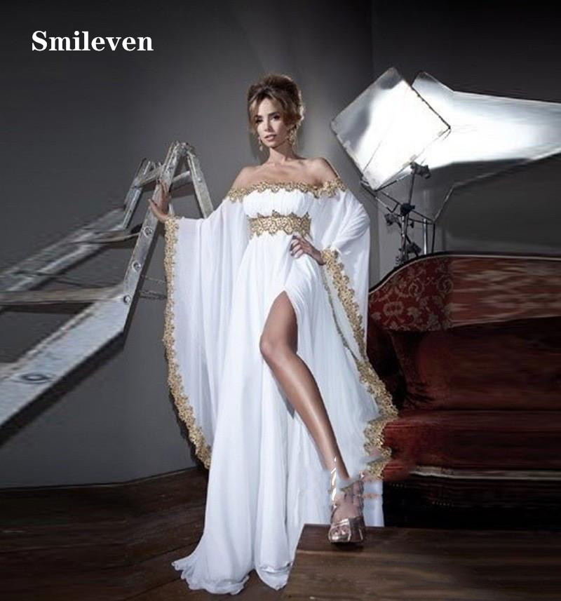 Smileven Pakistan Formal Evening Dresses Off The Shoulder With Gold Appliques Chiffon African Prom Gowns Side Split Party Gowns