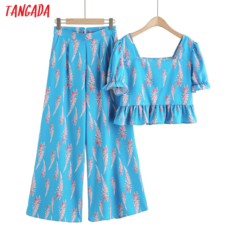 Tangada Korea Chic Blue Floral Print Suit Women Skirt Set 2020 Fashion New Suit 2 Piece Set Sweet Top And Pants 2F38