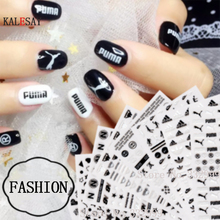 цена на Nail Art Decorations Black Stickers Sport Brand Nail Sticker Self-adhesive DIY Decals Tips Rose Gold Nail Art Stickers Decals