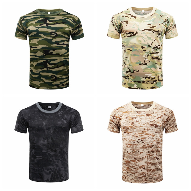 New Hot Sale Fitness Summer Body Bulding Camouflage Quick Dry Breathable Compression T-Shirt Tights Army Tactical Shirt