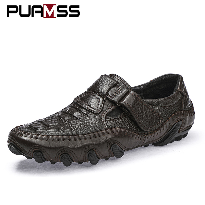 Brand Men Casual Shoes Men Loafers Spring And Autumn Moccasins Shoes Genuine Leather Men's Flats Shoes Rough Texture