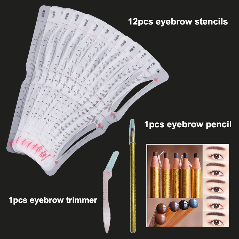 12 shapes Eyebrow Stencil head strap Eyebrow Ruler Measure Shaping Tools with Eyebrow Pencil and Trimmer Microblading Accessory 1