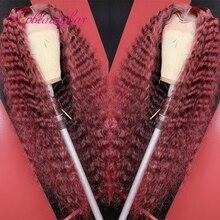 Парики из натуральных вьющихся человеческих волос темно-Красного цвета для женщин 200% 99J цветные 13x4 парики на сетке спереди бразильские пари...
