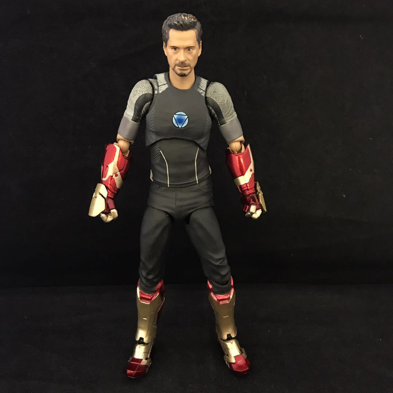 Iron Man Tony Stark With Tony's Powerd Stage Iron Man Action Figure Marvel Collectible Model Toy