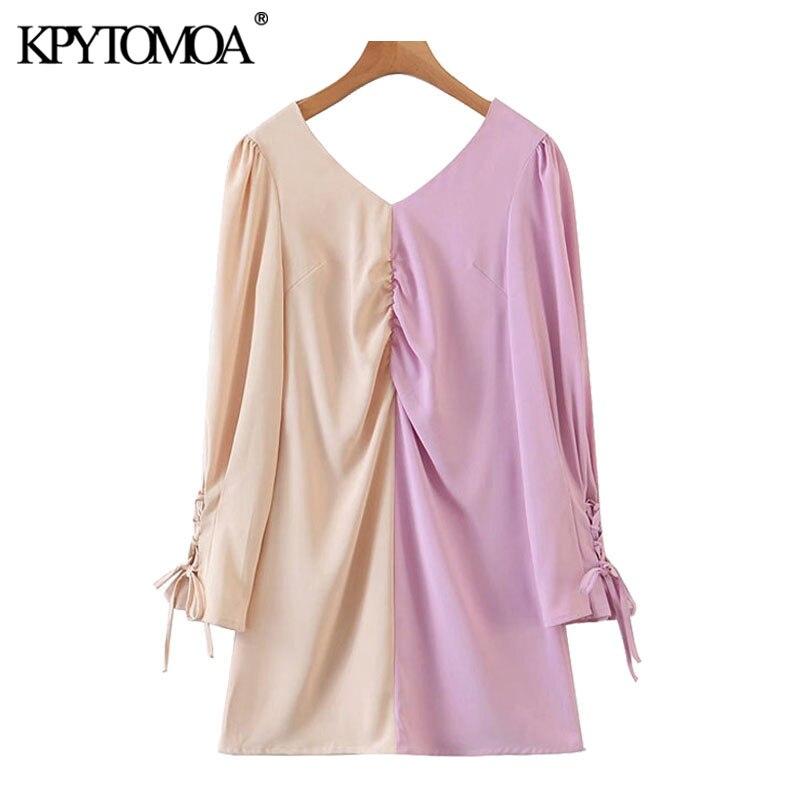 KPYTOMOA Women 2020 Chic Fashion With Tied Patchwork Mini Dress Vintage Long Sleeve Back Zipper Female Dresses Vestidos Mujer