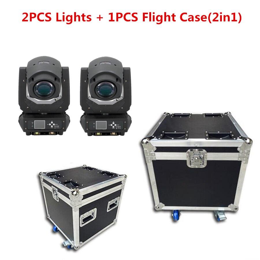 2PCS Lights + 1PCS Flight Case Led 200w 2in1 RGBW Beam/Spot Light DMX512 Moving Head Light DJ /Bar /Party /Show /Stage Light