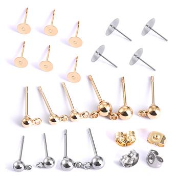 20 sztuk ze stali nierdzewnej Dia 4 5 6 8 10mm kolczyki ze złotym sztyftem powrót Plug Ear Pins Ball igły dla DIY komponenty do wyrobu biżuterii tanie i dobre opinie SEVENWELL CN (pochodzenie) Kolczyk ustawienia earring base linki do biżuterii Metal STAINLESS STEEL Stud Earrings