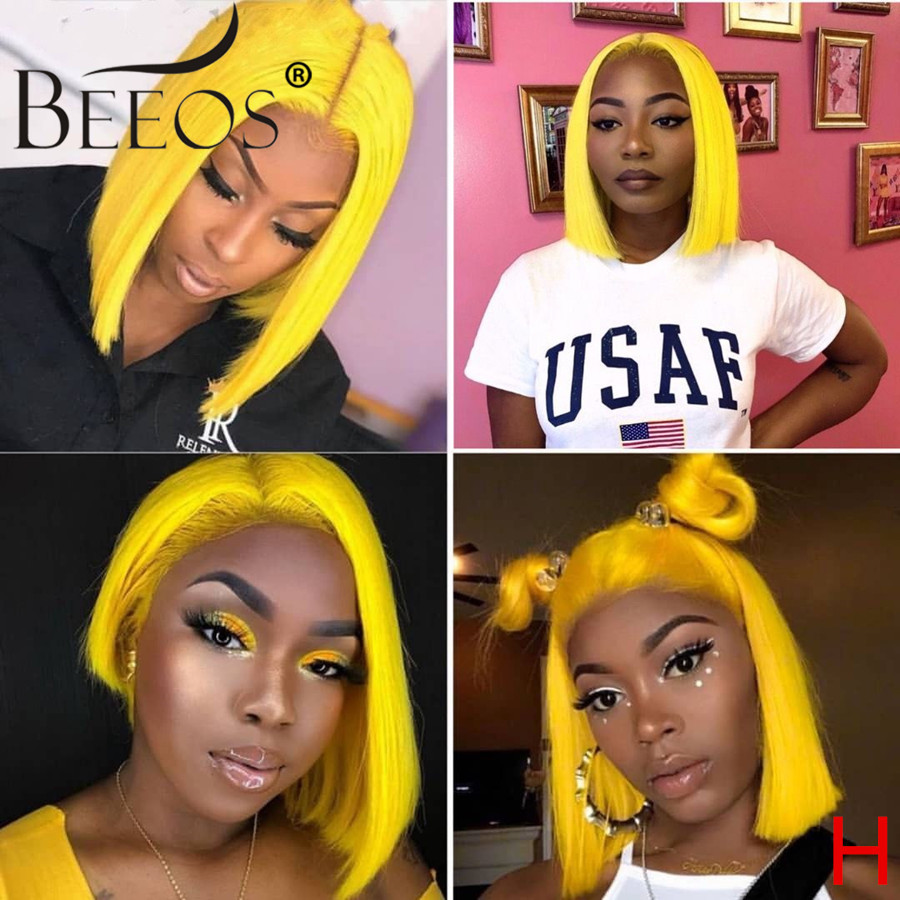 Beeos 13*6 150% Bright Yellow Color Lace Front Human Hair Wigs Short Bob Brazilian Remy Hair Pre Plucked Hairline Bleached Knots
