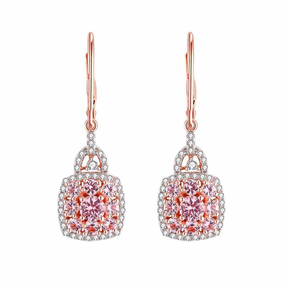 GZ ZONGFA Fashion 14K Plated Earring Jewelry Morganite Gemstone 925 Sterling Silver Earrings