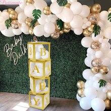 Caja de globos con nombre de oro para decoración de baño de bebé y niña, regalo de fiesta de cumpleaños, Babyshower, bautizo, suministros de boda