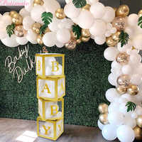 PATIMATE DIY Gold Baby Transparent Boxes Baby Shower Decorations Boy Girl Babyshower Backdrop Christening Birthday Party Favors