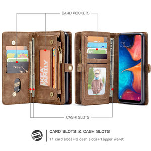 Image 3 - for Samsung Galaxy A20 A20E A30 A40 A50 A70 Wallet Case 2 in 1 Detachable Genuine Leather Magnetic Flip Cover Case