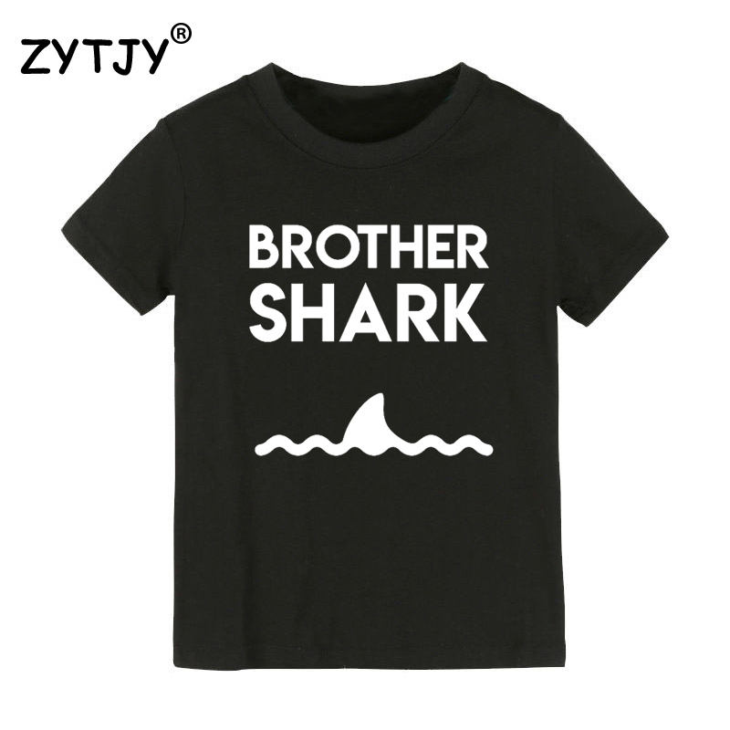 Brother Shark Print Kids tshirt Boy Girl t shirt For Children Toddler Clothes Funny Tumblr Top Tees Drop Ship CZ-73 image
