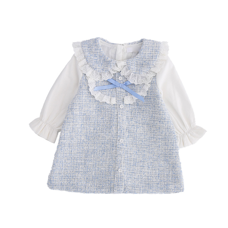 New Spring Baby Girls Sweet Bow Brim A Word Dress Lace Collar Delicate Princess Dress Kids baby girl cloths