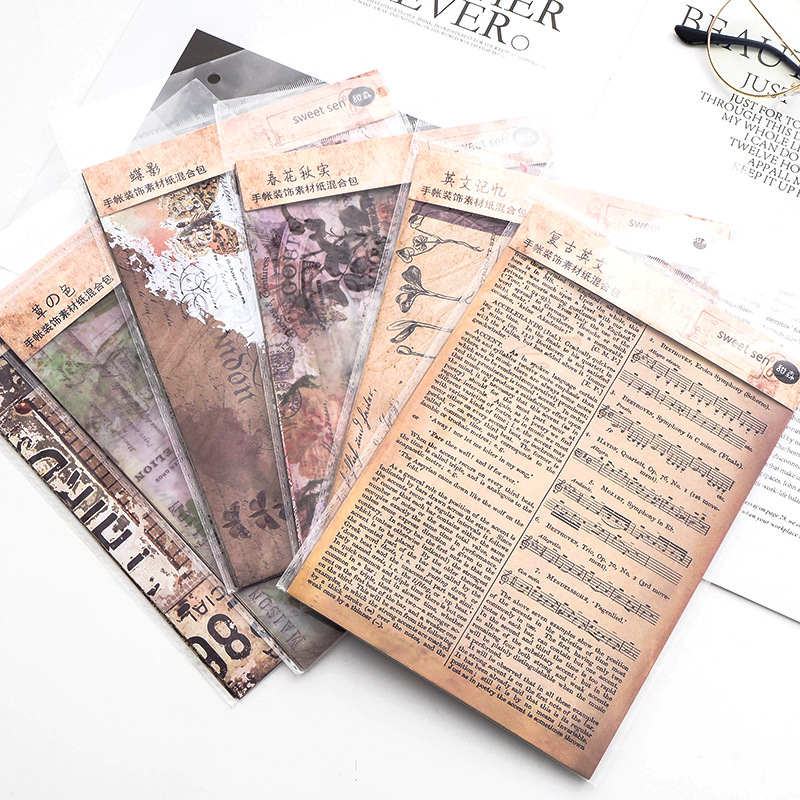 8pcs/pack Vintage English Newspaper Decoration Sulfuric Acid Paper Sticker DecoratIve DIY Album Diar
