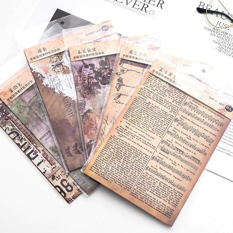 8pcs/pack Vintage English Newspaper Decoration Sulfuric Acid Paper Sticker DecoratIve DIY Album Diary Scrapbooking Label Fashion