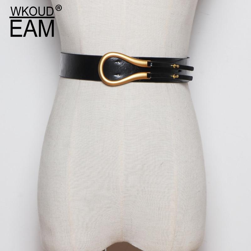 WKOUD EAM 2020 New Summer Metal Buckle Leather Belt Women Fashion Wild Dress Corset Belt Female Beautiful Waistband PF108