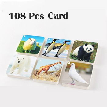 108 Pcs Children Educational Puzzle Card Book Toys Cartoon Animals Early Preschool Education Learning Development Toys with Case 1