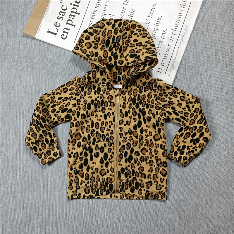 Spring and Summer 2021 new boys and girls Leopard print t-shirt dress leggings hoodie jacket 3