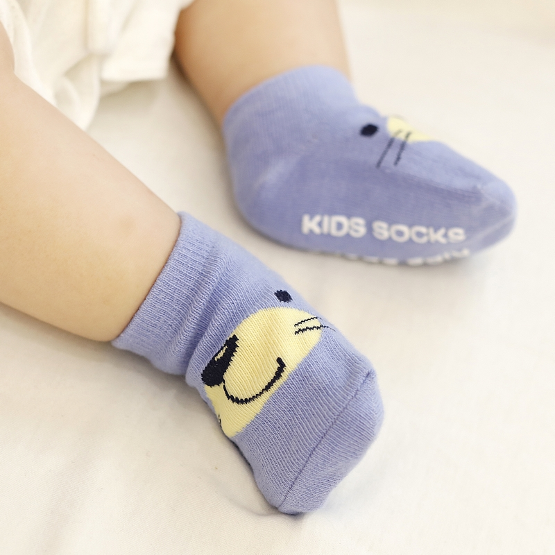 Cotton Baby Socks Newborn Boy Girl Floor Anti-slip Infant Socks Kids Short Silica Gel Anti-skid Socks At Cartoon Animal Design