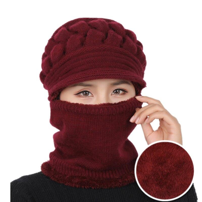 2019 New Autumn Winter Beanies Caps Women Warm Wool Siamese Bib Hats Female Rabbit Hair Windproof Velvet Cap Hats Wholesale