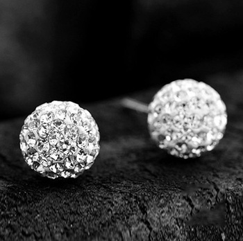2021 Summer Silver Color Brand Earrings 6/8/10mm Crystal Ball Stud Earrings For Women Fashion Girls Jewelry Gift 1