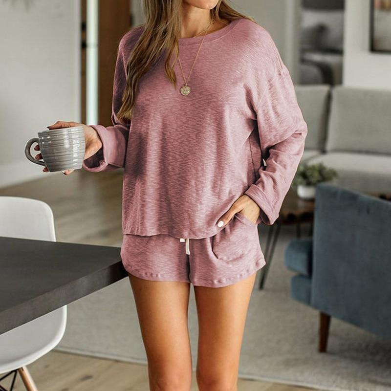 2020 New loungewear women pajama set summer breathable nightgown sleepwear indoor long sleeve sleep tops two pieces pijama mujer (10)